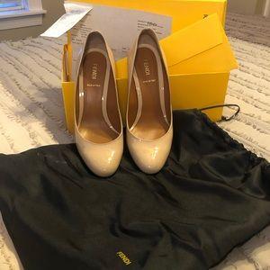 Fendi Tan Patent Leather Heels Sz 37